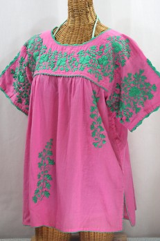 """50% Off Final Sale """"Lijera Libre"""" Plus Size Embroidered Mexican Blouse - Pink + Mint"""