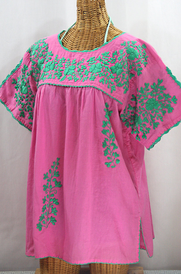 "50% Off Final Sale ""Lijera Libre"" Plus Size Embroidered Mexican Blouse - Pink + Mint"