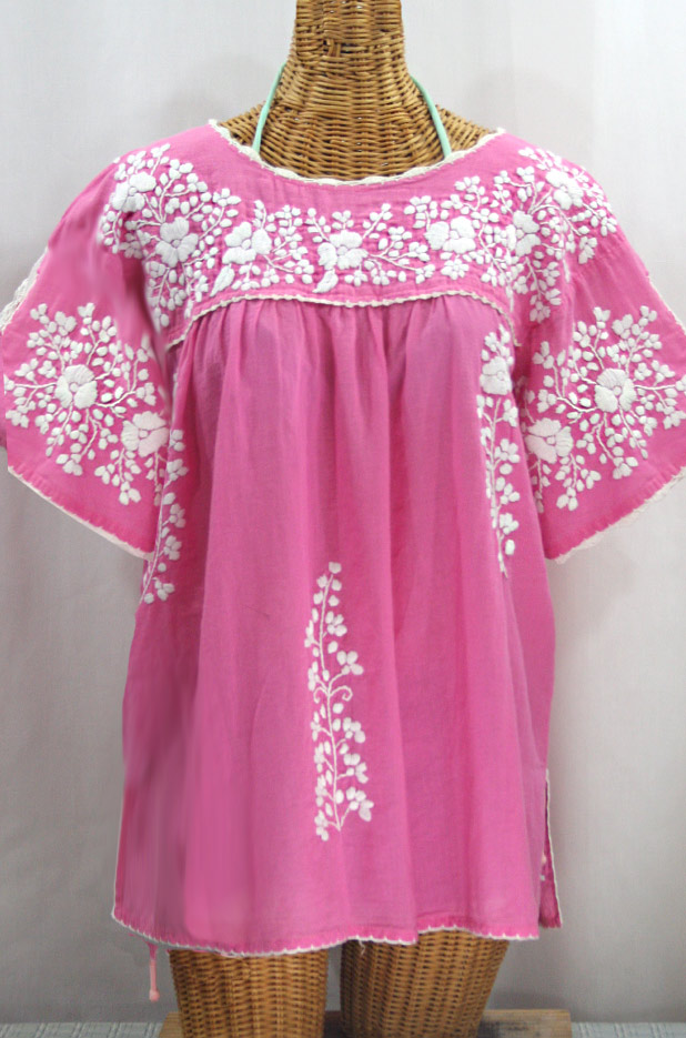 "50% Off Final Sale ""Lijera Libre"" Plus Size Embroidered Mexican Blouse - Pink + White"