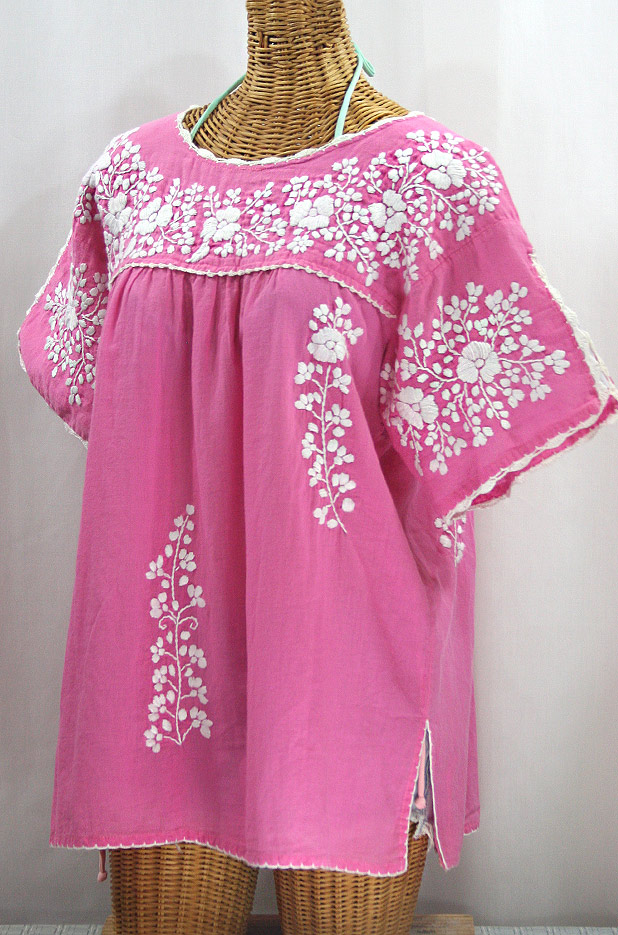 """50% Off Final Sale """"Lijera Libre"""" Plus Size Embroidered Mexican Blouse - Pink + White"""