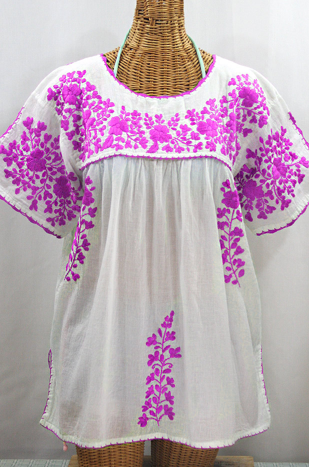 """Final Sale 40% Off -- """"Lijera Libre"""" Plus Size Embroidered Mexican Blouse - White + Neon Pink"""