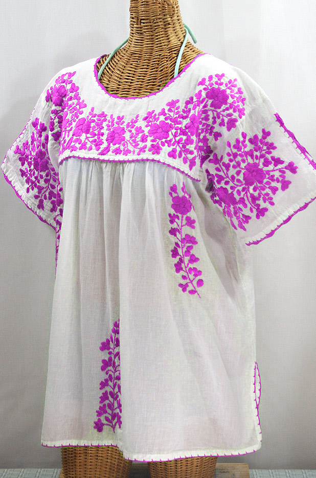 """Lijera Libre"" Plus Size Embroidered Mexican Blouse - White + Neon Pink"