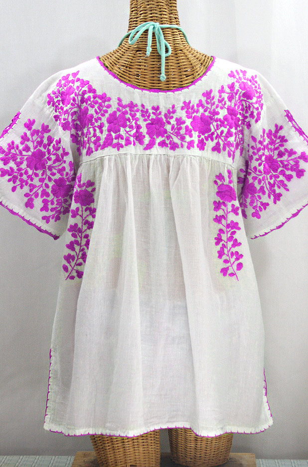 """""""Lijera Libre"""" Plus Size Embroidered Mexican Blouse - White + Neon Pink"""