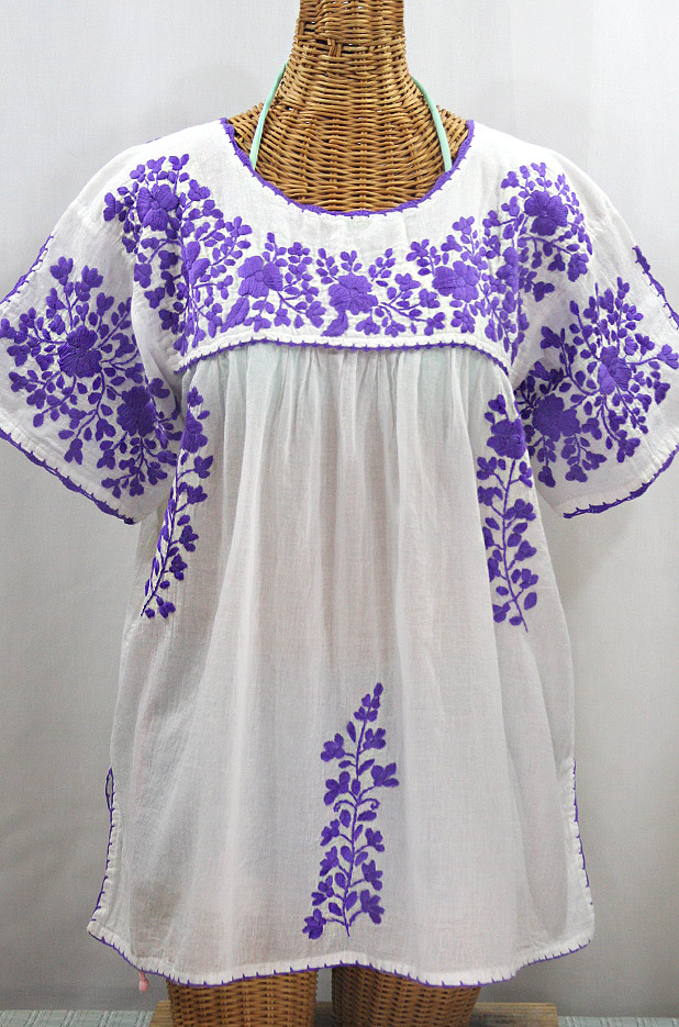 """Lijera Libre"" Plus Size Embroidered Mexican Blouse - White + Purple"