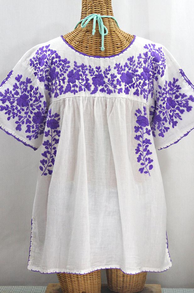 """""""Lijera Libre"""" Plus Size Embroidered Mexican Blouse - White + Purple"""