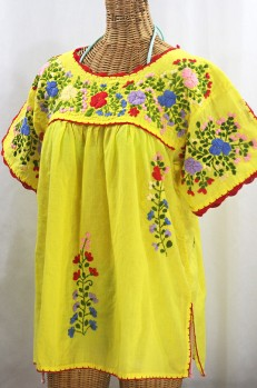 """Lijera Libre"" Plus Size Embroidered Mexican Blouse - Yellow + Multi"