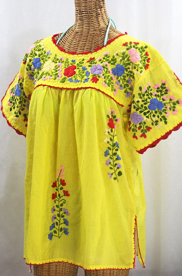 """Lijera Libre"" Plus Size Embroidered Mexican Blouse - Yellow + Multi"