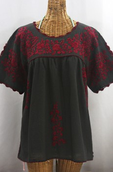 """""""Lijera Libre"""" Plus Size Embroidered Mexican Blouse - Charcoal + Burgundy"""
