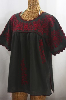"""Lijera Libre"" Plus Size Embroidered Mexican Blouse - Charcoal + Burgundy"
