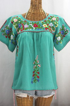 """La Lijera"" Embroidered Peasant Blouse Mexican Style -Mint Green + Multi"