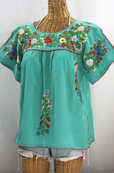 """La Lijera"" Embroidered Peasant Blouse Mexican Style -Mint Green + Multi"