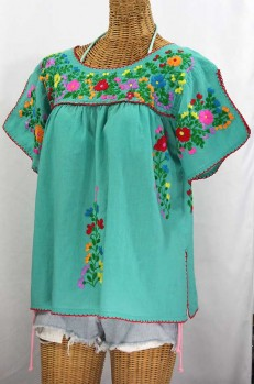 """La Lijera"" Embroidered Peasant Blouse Mexican Style -Mint Green + Rainbow"