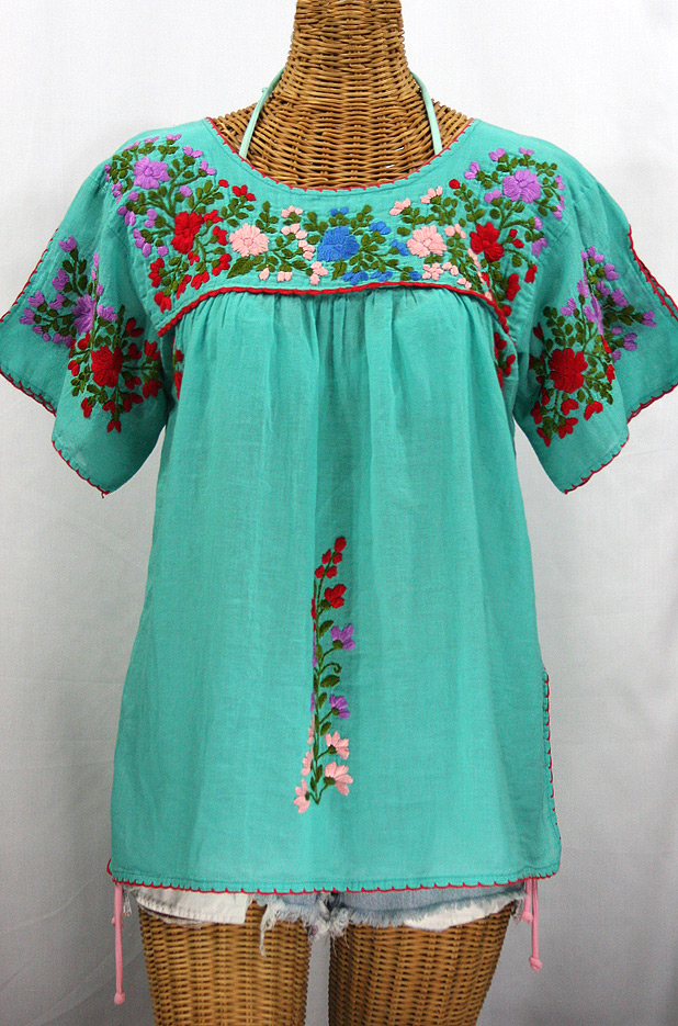 """La Lijera"" Embroidered Peasant Blouse Mexican Style -Mint Green"
