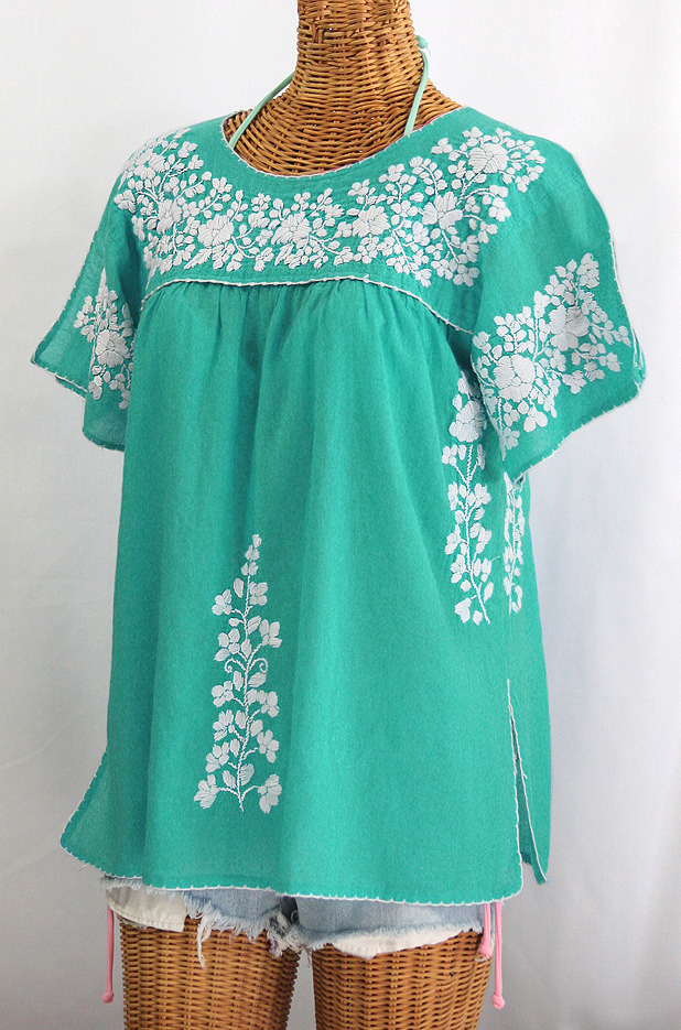 """La Lijera"" Embroidered Peasant Blouse Mexican Style - Mint Green + White"
