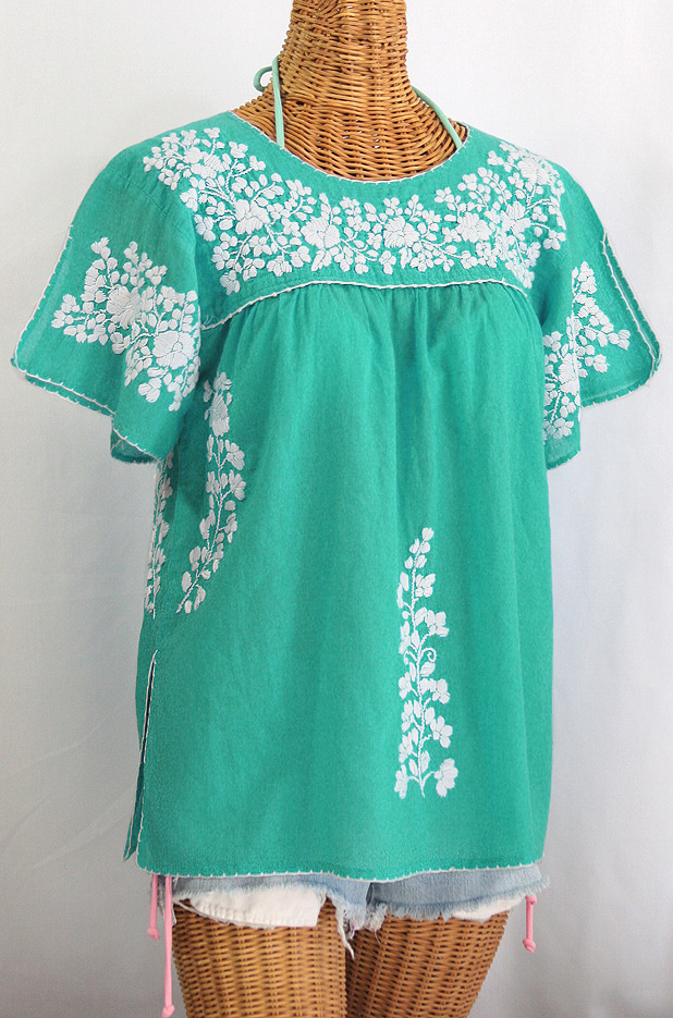 """""""La Lijera"""" Embroidered Peasant Blouse Mexican Style - Mint Green + White"""