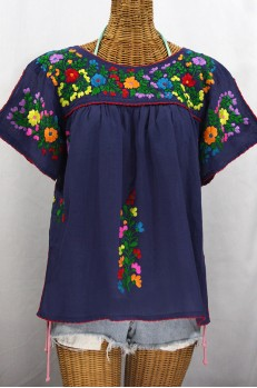 """""""La Lijera"""" Embroidered Peasant Blouse Mexican Style - Navy Blue + Rainbow"""