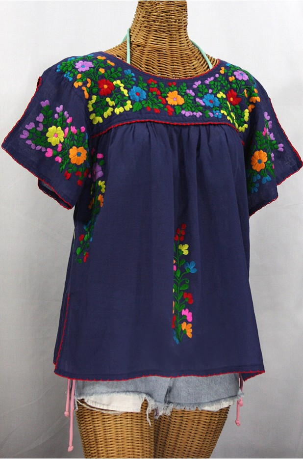 """La Lijera"" Embroidered Peasant Blouse Mexican Style - Navy Blue + Rainbow"