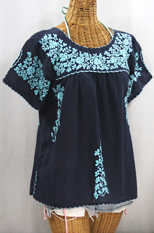 """La Lijera"" Embroidered Peasant Blouse Mexican Style - Navy Blue + Neon Blue"