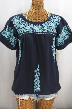 """""""La Lijera"""" Embroidered Peasant Blouse Mexican Style - Navy Blue + Neon Blue"""