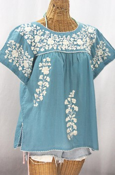 """La Lijera"" Embroidered Peasant Blouse Mexican Style - Pool Blue + Cream"