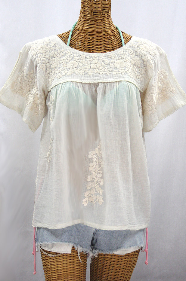 """La Lijera"" Embroidered Peasant Blouse Mexican Style -All Off White"
