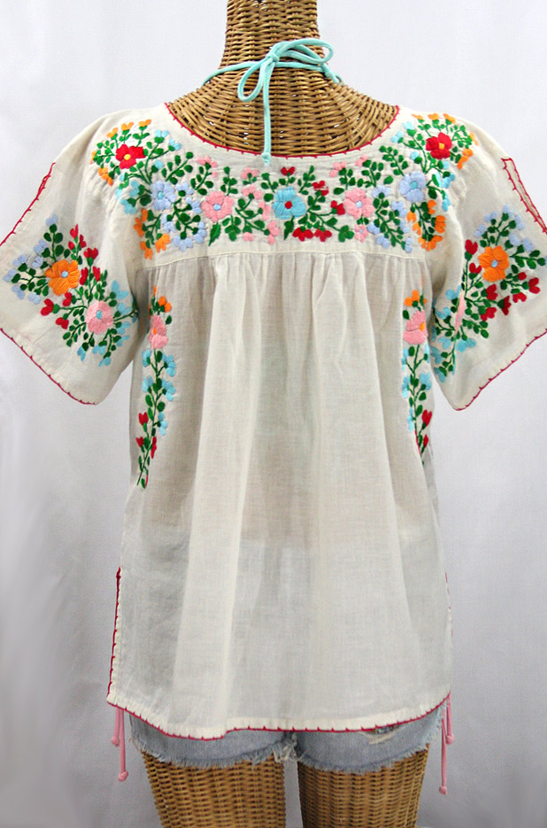 """La Lijera"" Embroidered Peasant Blouse Mexican Style -Off White + Bright Multi-color"