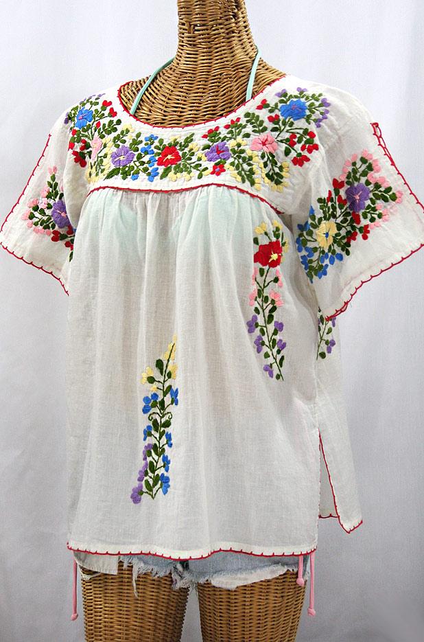 """""""La Lijera"""" Embroidered Mexican Blouse -Off White + Multi"""