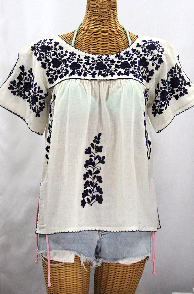 """La Lijera"" Embroidered Peasant Blouse Mexican Style -Off White + Navy"