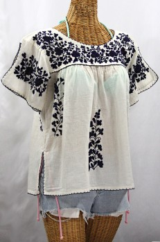 """""""La Lijera"""" Embroidered Peasant Blouse Mexican Style -Off White + Navy"""