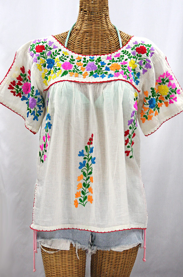 """La Lijera"" Embroidered Peasant Blouse Mexican Style -Off White + Rainbow"