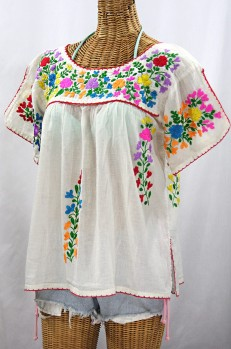 """""""La Lijera"""" Embroidered Peasant Blouse Mexican Style -Off White + Rainbow"""
