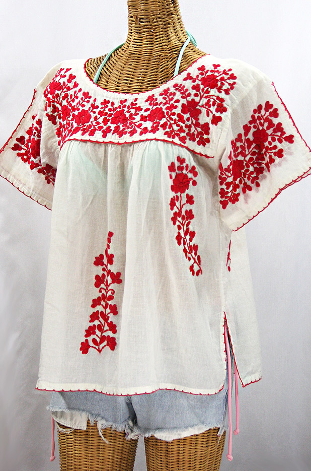 """La Lijera"" Embroidered Peasant Blouse Mexican Style -Off White + Red"