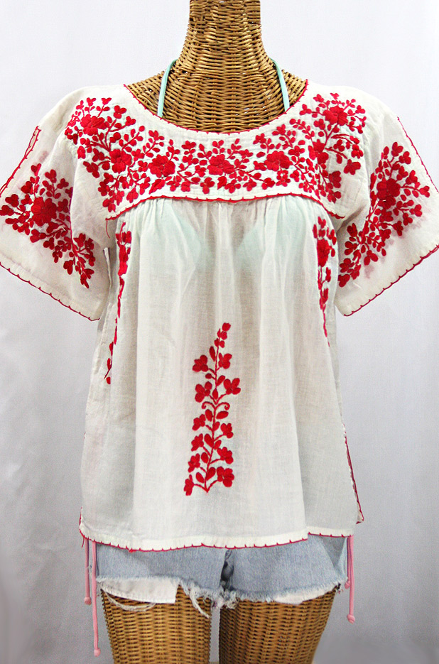 """""""La Lijera"""" Embroidered Peasant Blouse Mexican Style -Off White + Red"""