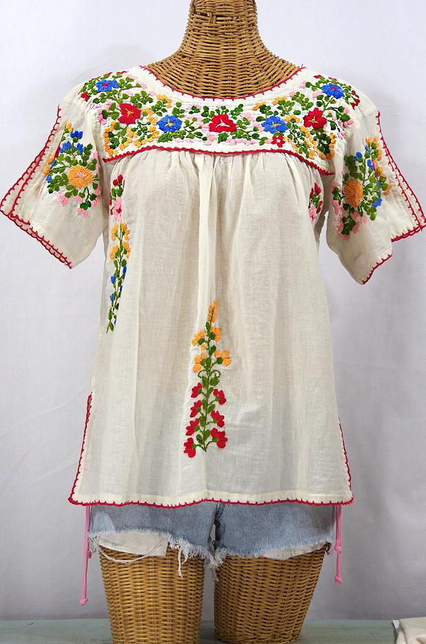 """""""La Lijera"""" Embroidered Mexican Blouse -Off White"""