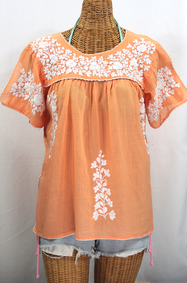 """La Lijera"" Embroidered Peasant Blouse Mexican Style -Orange Cream + White"