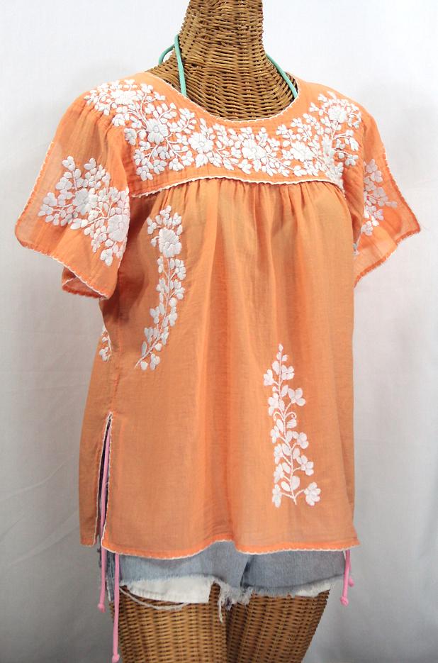 """""""La Lijera"""" Embroidered Peasant Blouse Mexican Style -Orange Cream + White"""