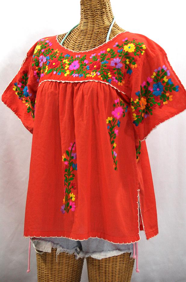 """La Lijera"" Embroidered Peasant Blouse Mexican Style - Orange + Rainbow"