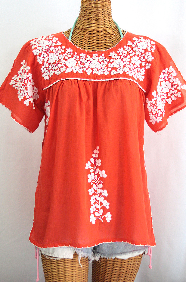 """La Lijera"" Embroidered Peasant Blouse Mexican Style -Orange + White"