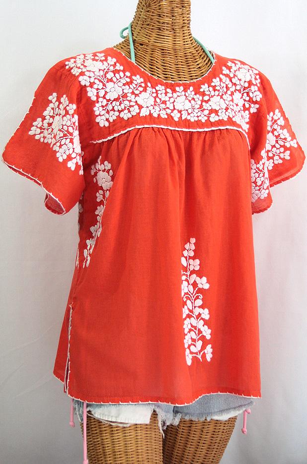 """""""La Lijera"""" Embroidered Peasant Blouse Mexican Style -Orange + White"""
