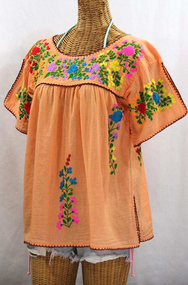 """La Lijera"" Embroidered Peasant Blouse Mexican Style - Orange Cream + Rainbow"