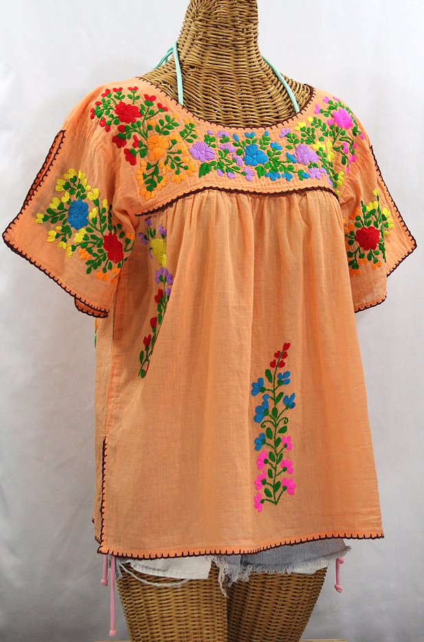 """La Lijera"" Embroidered Peasant Blouse Mexican Style - Orange Cream + Rainbow"