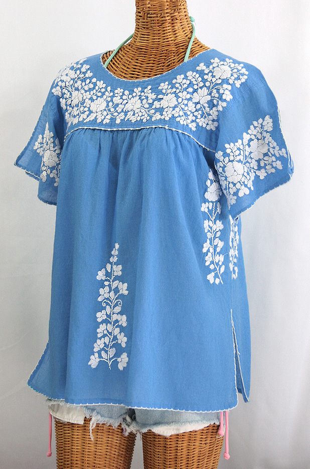 """La Lijera"" Embroidered Peasant Blouse Mexican Style - Light Blue + White"