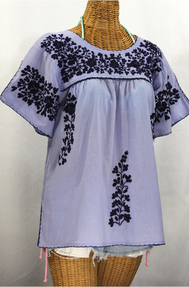"""La Lijera"" Embroidered Peasant Blouse Mexican Style -Periwinkle + Navy Blue"