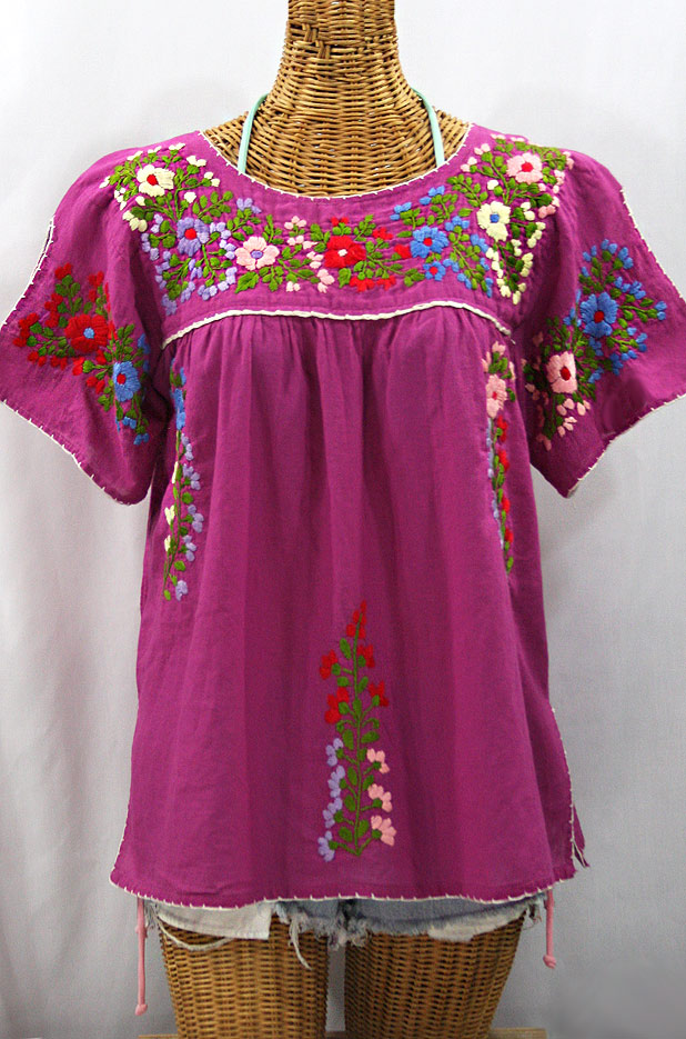 """La Lijera"" Embroidered Mexican Style Peasant Blouse -Fuchsia"