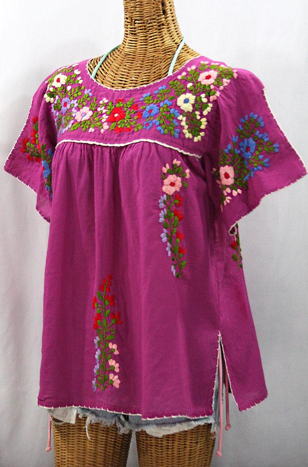 """""""La Lijera"""" Embroidered Mexican Style Peasant Blouse -Fuchsia"""