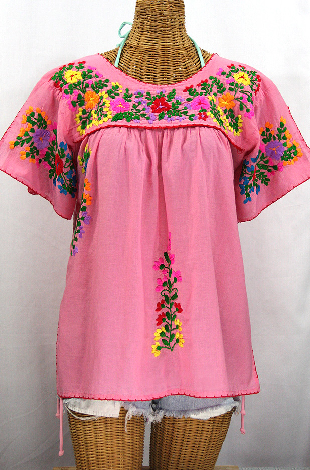 """La Lijera"" Embroidered Peasant Blouse Mexican Style -Bubblegum Pink + Rainbow"