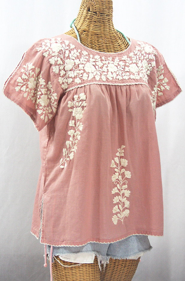 """""""La Lijera"""" Embroidered Peasant Blouse Mexican Style - Dusty Light Pink + Cream"""