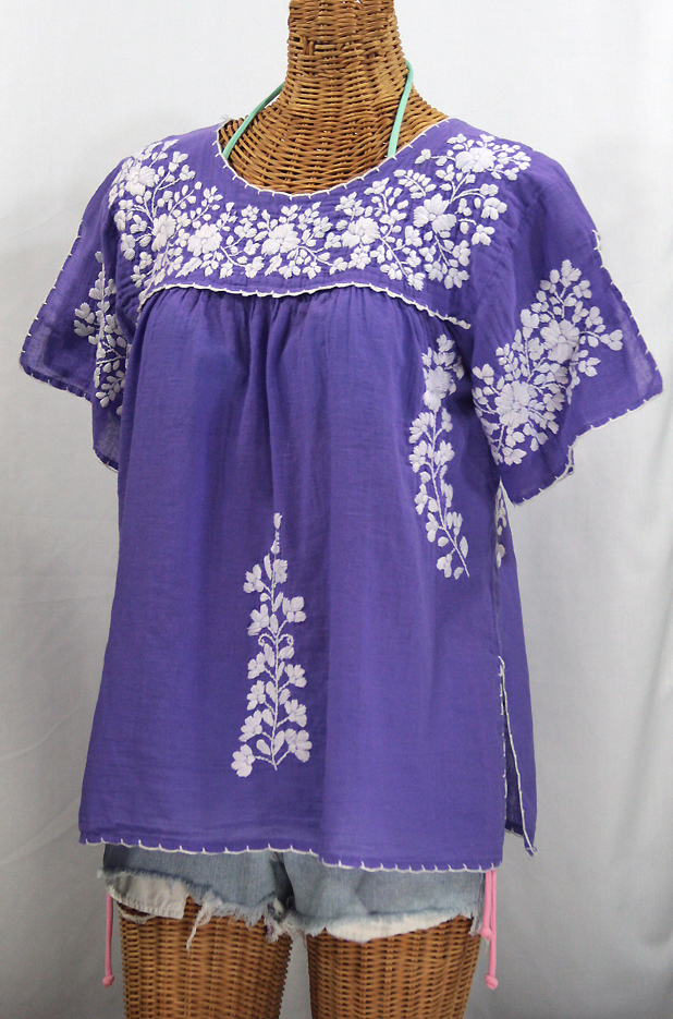 """La Lijera"" Embroidered Peasant Blouse Mexican Style -Purple + White"