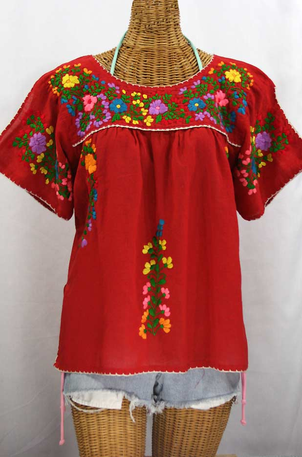 Quot la lijera embroidered peasant blouse mexican style red