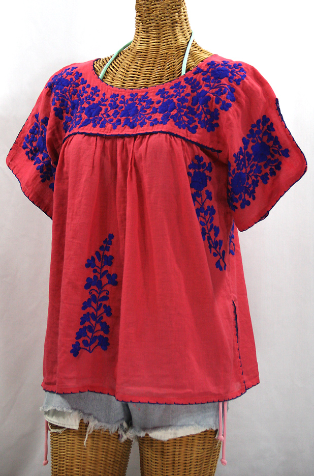 """""""La Lijera"""" Embroidered Peasant Blouse Mexican Style -Tomato Red + Blue Embroidery"""